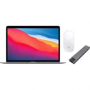 Apple MacBook Air (2020) 16GB/256GB Apple M1 Space Gray + Docking Station + Muis