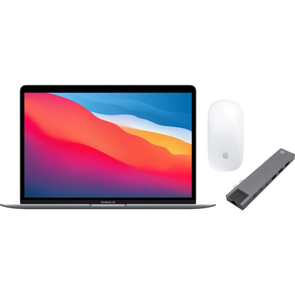 Apple MacBook Air (2020) 16GB/512GB Apple M1 Space Gray + Docking Station + Muis