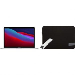 "Apple MacBook Pro 13"" (2020) 16GB/256GB Apple M1 Zilver + Docking Station + Laptophoes"